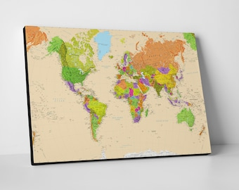 Physical world map etsy canvas world map colourful detailed physical world map beige gumiabroncs Image collections