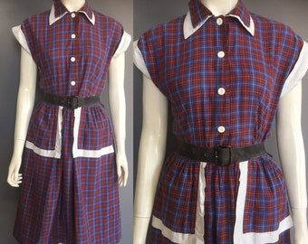 plaid 1940s day dress with pockets