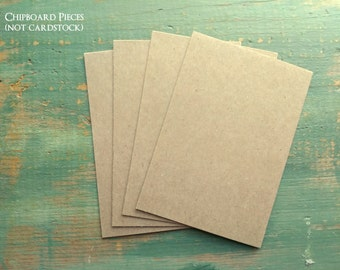 "25 4x6 Chipboard Pieces, 22 pt .022"" Recycled Chipboard, 4 x 6"" (102 x 152mm), cereal box thickness, kraft brown or white, for photos/prints"