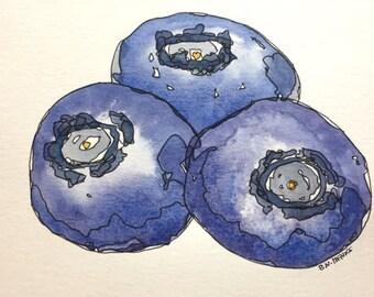 Blueberries an Original 5x7 Watercolor & Ink painting by Nan Henke