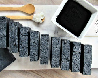 Organic Charcoal Soap Bundle, Save on 10 Bars, Natural Detox Charcoal Soap, Cold Process Rose Soap, Gift Idea