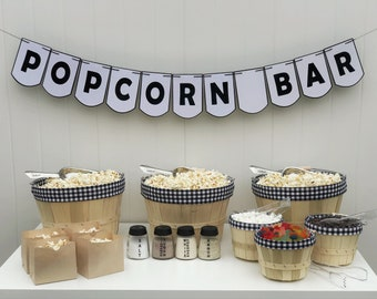 Popcorn Bar | Black & White Gingham | Party in a Box