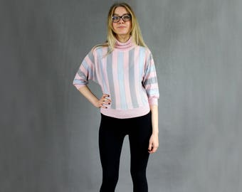 80s Vintage High Neck Batwing Gray Pink Silver Stripped Pullover Sweater, Avant Garde Knitwear, 1980s French Dolman Sleeve Oversize Hipster