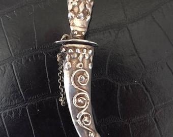 Silverplated Dagger and Sheath Brooch