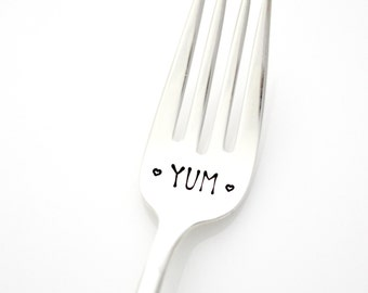 Yum stamped fork. Hand Stamped Silverware for your favorite desserts. Cake Fork, Dinner Fork, By MilkandHoney.