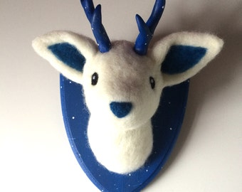 Galaxy blue deer made to order faux needle felted taxidermy made to order