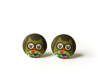 Owl Stud Earrings, Fabric Buttons, Small Ear Studs, Earrings for Children, Gift for Her