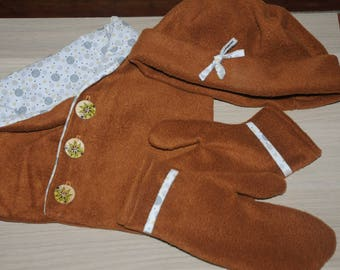 snood, bonnet and matching mittens set
