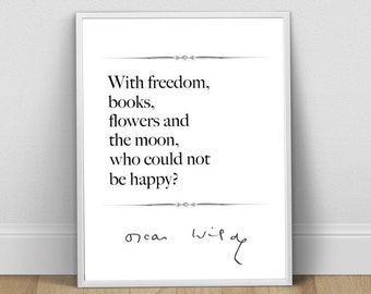 Oscar Wilde, Literary Print, Art Print, Literary Gift, Book Art, Books and Moon, Literature Quote, Literature Print, Literature Poster