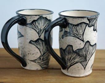 Large Ginkgo Pottery Coffee Mug - Sgraffito Ceramic Mug - Valentine Mug - Handmade Pottery Mug - Gift for Her - Gift for Him