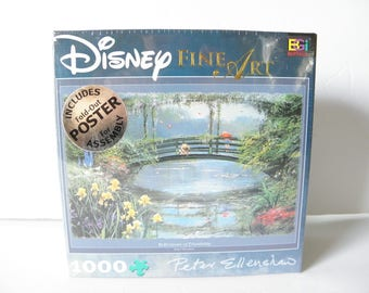 Disney 1026 PC Fine Art Puzzle Winnie the Pooh Christopher Robin Piglet Fishing  Reflections of Friendship Sealed Peter Ellenship