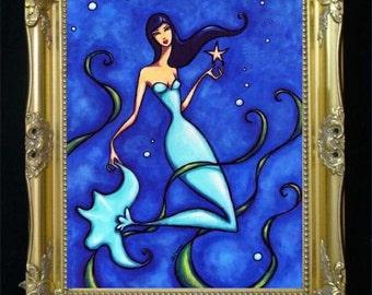 Mermaid Art Print, Nautical Home Decor, Beach House, Bedroom Artwork, Girls Room, Illustration, Turquoise Poster, Nursery,Gift for Mom,Shano