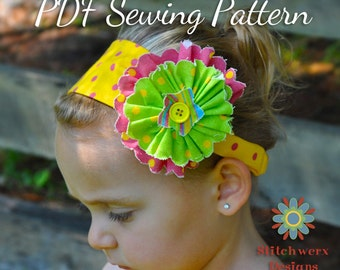 HEADBAND SEWING PATTERN, Baby Girls Womens Headband Pattern, Flower Headband Pattern, Hair Accessory Pattern, Digital Headband Pattern Pdf