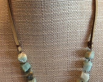 Rough Amazonite and leather necklace