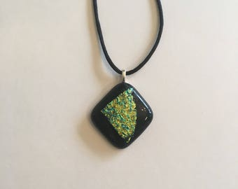 Black and greenish gold dichroic fused glass necklace