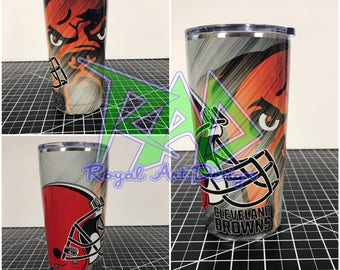 Cleveland Browns  Custom Yeti 20 30 RTIC Cup Fully Wrapped