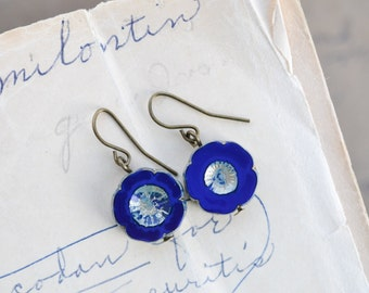 Royal Blue Antique Earrings / Czech Glass Beads / Brass / Neo Vintage Jewelry