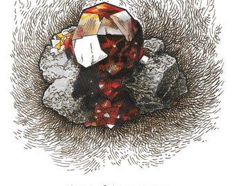 Garnet crystal digital print, ink and marker illustration