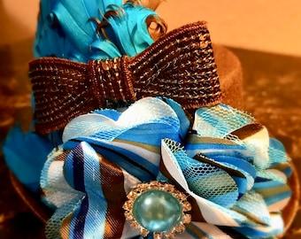 Chocolate Skies Brown & Blue Fascinator Mini Top Hat