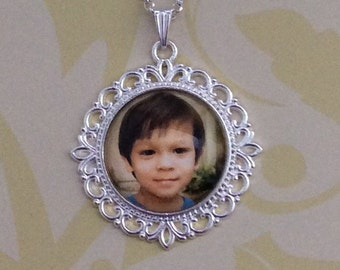 Custom Photo Glass Pendant, Photo Glass Necklace, Glass Keychain