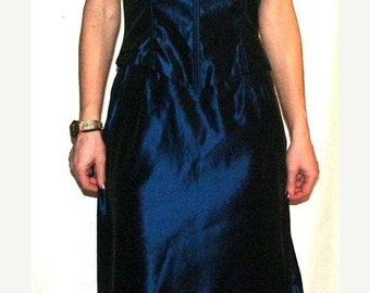 Moving Sale Stunning Metallic Midnight Blue Vintage 90's Evening Gown- Size 4/6 US