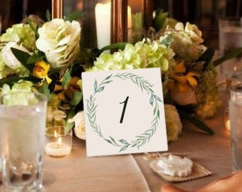 Rustic Wedding Table Number. Greenery Printable INSTANT DOWNLOAD Rustic Wedding. Folded Seating Table Cards. Digital File Green Wedding set.