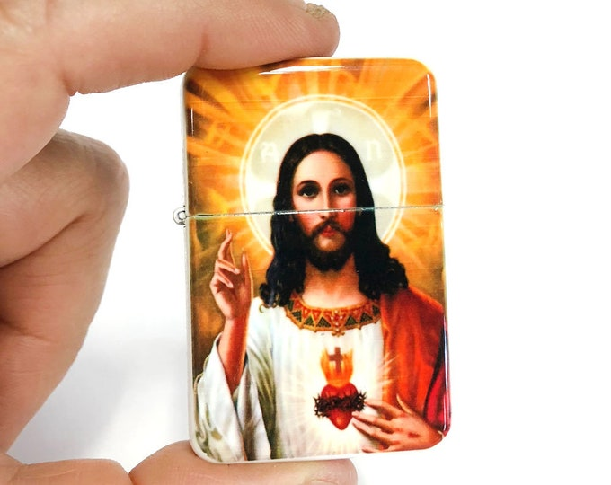 Jesus flip lighter-Sacred heart-Religious-Chistianity-Sublimated-Retro lighter-Cigar-Gift for Him-Groomsmen-Bachelors-Fathers Day