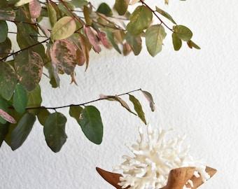 interlocking carved folkart wood plant stand / stick planter / pedestal / tripod flower pot
