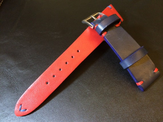 Leather Watch Band, Vintage Leather Watch Strap, Rolex Watch Strap, handmade genuine watch band for ROLEX Pespi Basel Watch - 18mm/19mm/20mm