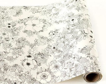 """Paper Table Runner Roll 20"""" by 25' - Floral Pattern for Coloring"""