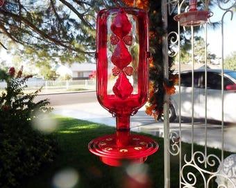 Custom Glass Hummingbird Feeder, Bird Feeder Base, Mosaic Glass, Garden Gift, Gifts for Mom, Fireball Bottle, Outdoor Decor, Humming Bird