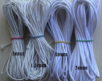 10 meters of hat section black or white 1 mm elastic cord