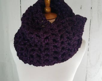 Melanie Long Cowl. Ready to Ship//PURPLE glitter sparkle Infinity Scarf//Crochet Scarf