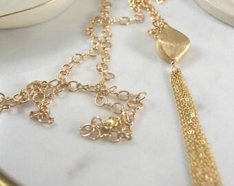 14k Gold Plated Fringe Necklace with Tassel Vermeil centerpiece