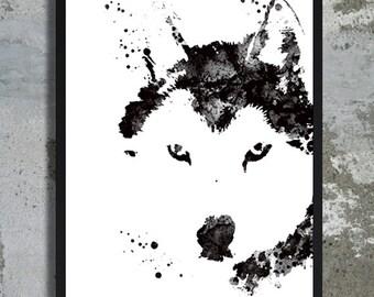 Husky Watercolor, Husky Print, Wall Art, Dog Lovers Gift, Gift for dog, Home Decor, Husky watercolour, Husky poster, Dog art, Dog nursery