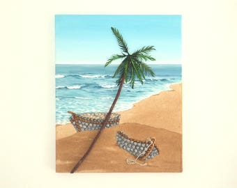 Acrylic Painting, Beach Artwork with Seashells and Sand, Two Boats & Palm Tree, Seashell Mosaic on Sand, 3D Art Collage, Mosaic Art