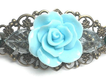 Flower and Crystal Barrette,Teal Rose,Flower Hair Jewelry,Filigree Barrette,Vintage Style,Wedding Jewelry,Elegant Fashion,Cottage Chic,OOAK