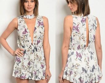 Floral romper, sleeveless romper, plunging neckline romper, choker romper, choker one piece for women, floral choker romper, summer floral