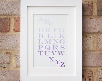 Alphabet, Lilac - Giclée print