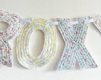 Personalised name bunting, name banner, fabric bunting
