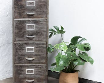 Marizio Reclaimed Stripped and Distressed Vintage Urban Industrial 1950s Stripped Steel 4 Drawer Filing Cabinet with Rounded Corners