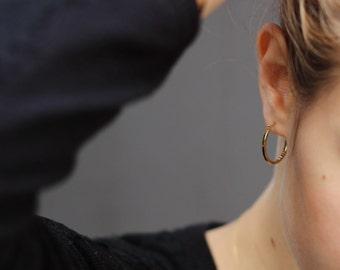gold hoop earrings, minimal hoop earrings, delicate earrings, fine jewelry, minimal earrings, silver hoop earrings