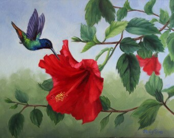 Hummingbird painting - hummingbird with flower - bird painting - hummingbird print - Open edition print