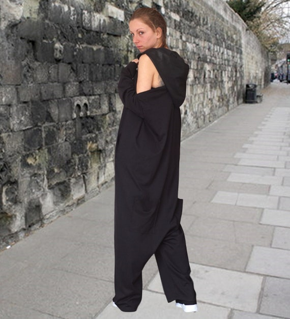 Baggy Drop Crotch Overall, Spring Hooded Harem Jumpsuit, Lagenlook Linen Romper, Loose fit Off shoulder Hoodie, Extravagant Halter Jumpsuit