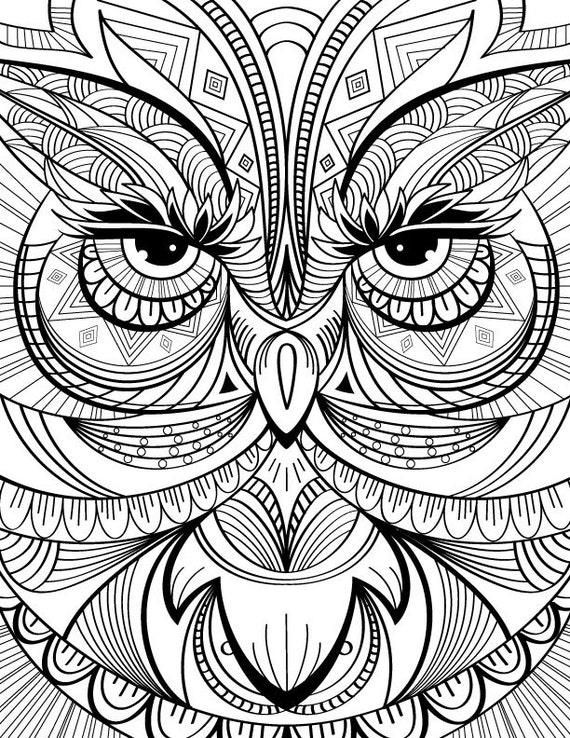 articles similaires hibou coloriage page au calme dtente et le stress relief adulte coloriage livre art page imprimer instantanment pages de - Coloriage Dtente