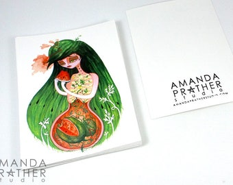 Fruit Lady Watermelon Small Art Print // 4.25x5.5 Card // Illustration Painting // Surreal Pop