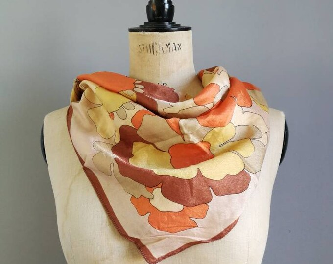 Featured listing image: Vintage 60s scarf / square floral orange scarf / vintage gift for her / retro patterned square scarf / true vitnage scarf