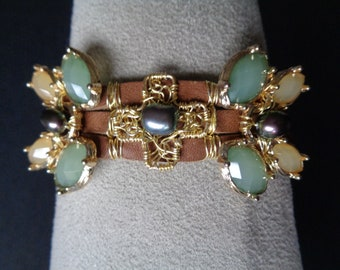 Uptown Country Leather Cuff Bracelet
