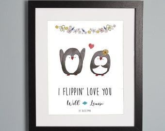 Couples Penguin Personalised A4 Print