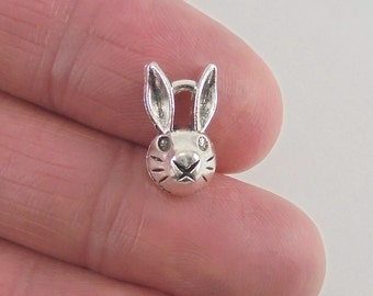 10 Bunny or Rabbit charms, 14x8x5mm, antique silver finish